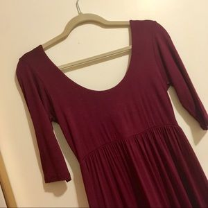 fab'rik Dresses - Super Long Half Sleeve Maroon Maxi Dress
